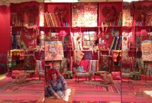 The Colourful World of Kaffe Fassett / Various exhibitions featuring Kaffe's work including Mottisfont Abbey (Sept 2017 - Jan 2018) and The American Museum, Bath, UK (2014). Exhibits include knitwear, needlepoint, painting, patchwork and interior design.