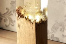wooden resin lamp