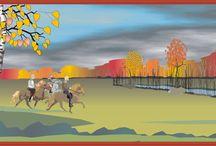 PANORAMA'S / breedbeeld tekeningen van landschappen en/of taferelen met ijslandse paarden