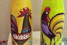Garrafas decoradas / Idéias para decoração artesanal de garafas