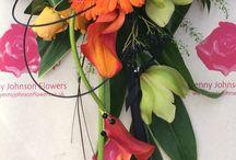 Orange themed wedding flowers