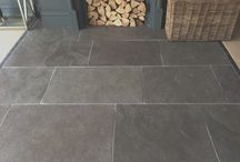 Living Rooms with Flagstone Flooring / Collection of living rooms featuring flagstone flooring.