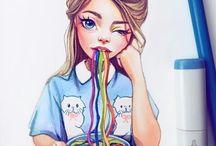 рисунки девушки
