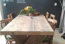 Triomf tafels / Handgemaakte tafels in elk gewenste maat of kleur. Zie de website of onze winkel in villa arena