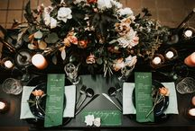 Heaven Meets Earth Design Inspo / Celestial and Earthy Inspiration for weddings and styled shoots. Deep indigo and blue hues with splashes of light pink, purple, gold, and green.