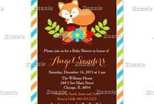 Blue Fall Fox Baby Shower / This collection features a cute sleeping fox in a wreath of flowers. The background consists of a solid dark brown with orange, blue and green stripes pattern.