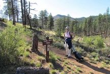 Hiking with Oxygen / Our customer hiking with Oxygen on the North Fork Trial in Glen Haven, Colorado. North Fork Trail is a 14.8 mile out and back trail that offers scenic views. The trail is rated as moderate and primarily used for hiking.