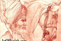 Akali Nihung (red chalk) / Sikh Art