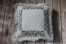 Hand made pillows from sheepskin