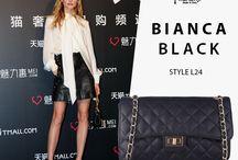 Marla Fiji - Bianca black quilted shoulder bag.