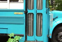 School bus converted into small appartment.