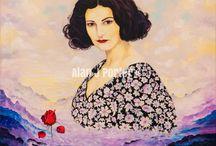 Famous women and men / The Oil paintings from the English artist Alan John Porter. #alanjporterart #kompas #art #women #painting #oil #beauty #men #famous