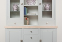 The Dower House Dresser / The Dower House kitchen dresser was commissioned to have a symmetrical appearance. The majority of the storage space is concealed, whilst retaining some open shelving. The work area can be used whilst opening the glass cupboards to unload plates.