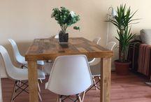Ideas Mesas Rústicas / mesas de comedor, rusticas. diseñadas en base tablas de madera, teñidas e impermeabilizadas.