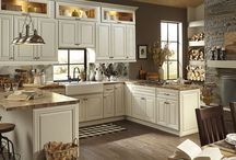 Kitchen Design: Cozy Coffee Shop with Victoria Ivory Cabinets / The best coffee shops are warm, inviting, and a great spot to spend time with friends and family. Turn your kitchen into a cozy coffee shop with the B. Jorgsen & Co. Victoria Ivory kitchen cabinets.
