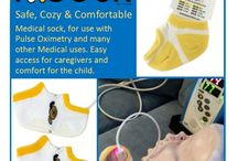 K.Sock - Medical Sock / For use with Pulse Oximetry and Many other Medical uses.  Soft, comfortable, adorable Kozie medical sock comes in a 3 pack with unique opening helps keep the child's feet warm while allowing for health care workers and parents to safely and swiftly access the foot for many medical purposes