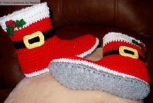 Crochet Felted Santa's Slipper Boots