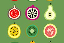 Food and fruits illustrations