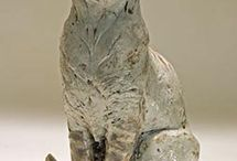 Clay Cat Sculptures