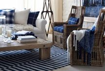 Living room / My living room inspiration and style. Brown leather sofa, navy accents and cream. Nautical seaside calm.