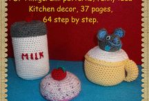 PDF Amigurumi patterns, bottles of milk, cupcake, Cup of milk, Funny Playing Toys Mice , Kitchen decor, 37 pages, 64 step by step.