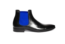 """Phantom Black and Blue"" by Pete Sorensen / The Phantom is a dandy shoes inspired sixties, seamless design. This is a chelsea boot in full grain superior calf leather. Fully lined in black matte leather on the inside, it has a cushion in the heel (2 cm). Sole design without overhangs makes the Phantom the perfect rock-chic boots day or night."