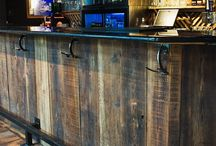 Reclaimed barn wood bar