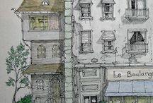 realistická kresba míst