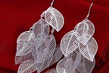 Boucles d'oreilles plaqué argent à pampilles feuilles