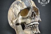 Carved Tamarin Wooden Skull with Teeth made from buffalo bone THB08
