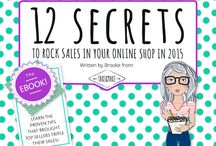 """Rock Sales in Your Online Shop-EBook / The """"12 Secrets to Rock Sales in Your Online Shop in 2015"""" was written for the handmade and crafter community after Brooke and the rest of the team at Take&Make understood the knowledge they were learning could be valuable to those looking to improve sales in their shop."""