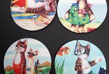 Cat Home Decor / Artwork by L. A. Berry of Big Cat Designs