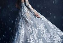 Blue dress in snow