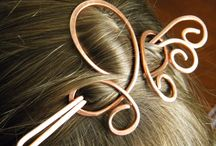 Wire wrapped Hair pins and brooches