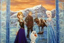 Frozen - Elsa's Ice Palace Themed Kids Room / Frozen themed mural by Tom Taylor of MuralArt.com The theme for the room was to create Elsa's bedroom in the Ice Palace. The artwork was enhanced with crystals to produce an icy shimmering effect as you walk through the room. I enjoyed painting and designing this room for an adorable little girl :)