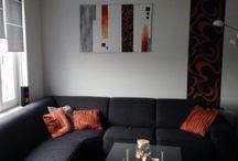Modern Art Orange Brown