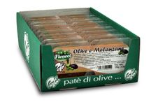 Patè (pasta di olive e vegetali 100g olives and veggies spreads) / 5 gusti tutti con olio extra vergine di oliva a base di Olive da tavola che si sposano con i carciofi, con le melanzane con i peperoni piccanti, con i funghi oppure al naturale.   - - - English - - -  patè line  double pack tray of  50 grams each (1.8 oz). A selection of  5 different  combinations. Each f our home-made-style pates is dressed with a extra virgin olive oil and offered with  artichoke paste, eggplant paste, hot peppers, mushrooms or plain.