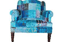 Sit down! Boho style / Fabulously colored armchairs and footstools from india