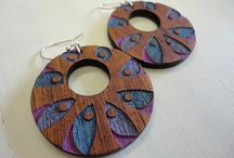 ZingyB Wooden Earrings / My wooden jewellery, earrings, hand painted, lasercut
