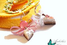 Earrings with miniature food, charms slices of cake, made in polymer clay