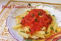FRESH TOMATO SAUCE / Kitchen Wisdom Gluten Free Fresh Tomato Sauce Recipe  http://kitchenwisdomglutenfree.com/2015/09/22/fresh-tomato-sauce-forget-what-you-know-about-wheatc-2015/