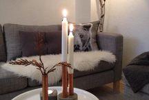 Interiør stue og kjøkken / Kobber Grått Svart Hvitt Mint