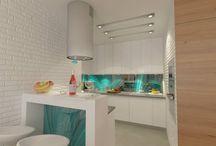 """Turquoise / Chcielibyśmy Wam przedstawić aranżację małej kuchni w mieszkaniu 60m. """"Larkviz"""" postarał się by spełnić oczekiwania klienta. Mała przestrzeń to mniej możliwości a jednak się udało. Projekt by gt projekt & """"Larkviz"""" . Wystarczy skontaktować się z nami. Nasz projektant również dla Was stworzy aranżację marzeń.  Zapraszamy Kontakt: info@interior4u.eu"""