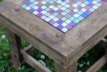 Mosaic gridwork tabletops