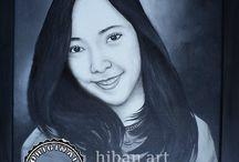 LUKISAN POTRET HITAM PUTIH 2 / order lukisan potret hitam putih diatas canvas