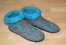 Gevilte pantoffels / Alle pantoffels zijn gemaakt van bergschaapwol en hebben een anti-slipzool van rubber.