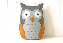 """DIY Felt Hubert the Owl Kit / This kit will contain the materials pattern and instructions necessary for creating a felt stuffed owl (finished size approx. 9 x 6.5"""") in trendy yellow and grey using hand embroidery techniques."""