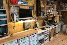 My workshop / My workshop in Japan. With custom made mitre cutting table and systainer ports