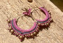 Earrings in macrame, loop , boho, etnic style