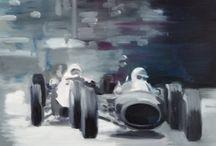 ESSAIS /  VOITURE/Lotus/ course/ Monaco/PEINTURE  Huile sur toile  40x30